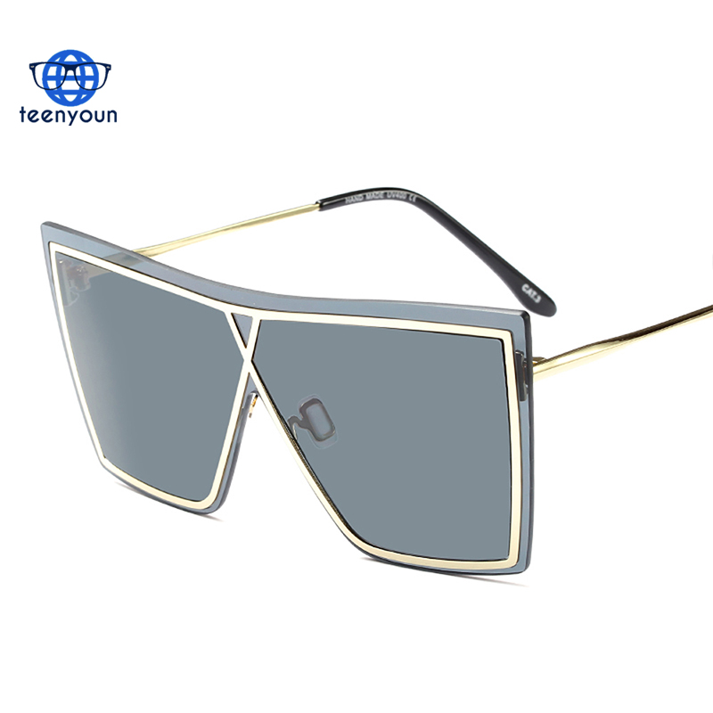 One piece lens 2018 frameless sunglasses men square black metal winter windproof oversized shades Sun Glasses