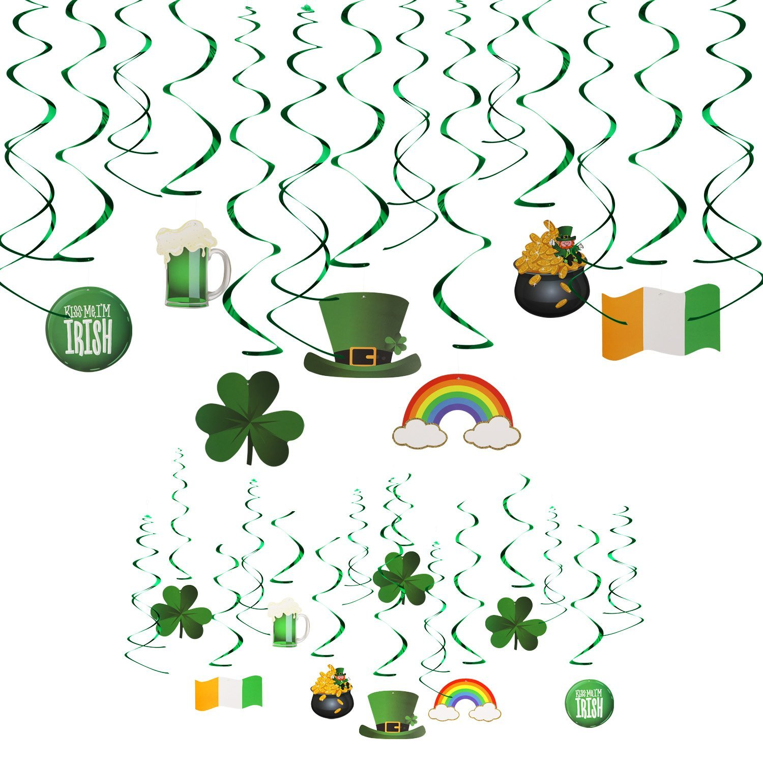 VIPITH Lucky Clover Irish Green St. Patrick's Day Foil String Hanging Swirl Decoration with Hats Beers Clover Leprechaun Rainbow for Home Office and Party, Set of 30 Pieces