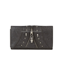 CL11-121 Ladies retro/vintage style clutch purse/ wallet bag with skull