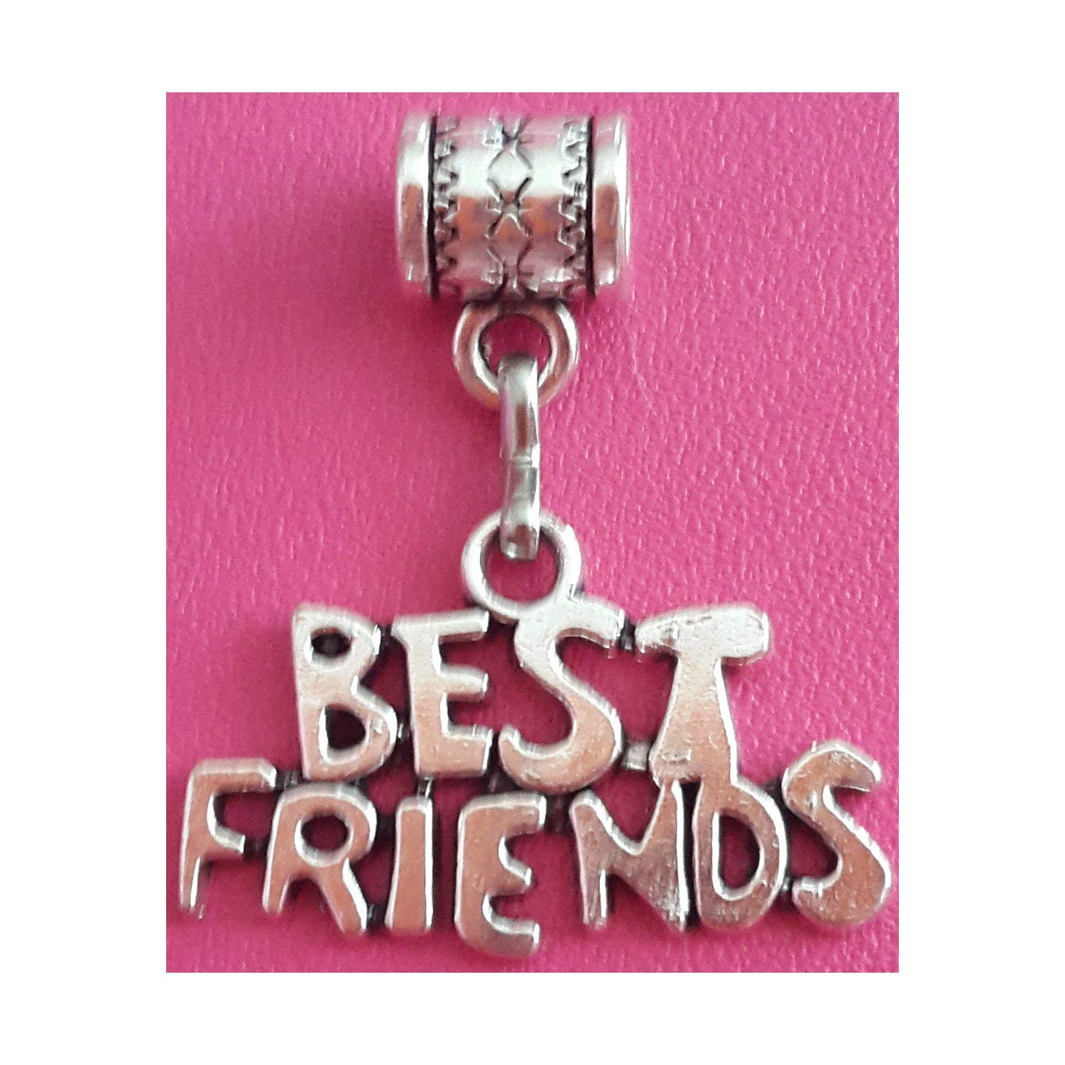 """Best Friends"" charm in antique silver by Mossy Cabin for modern large hole snake chain charm bracelet, or add to a neck chain, pendant necklace or key chain"