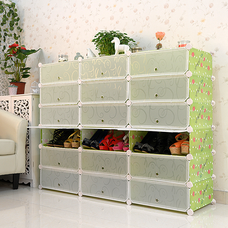 Beautifully Designed Plastic Magic Clear Shoe Interlocking Storage Cubes With Doors