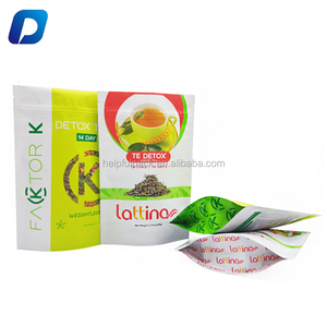 custom plastic resealable food grade biodegradable empty chinese tea leaf bag packaging
