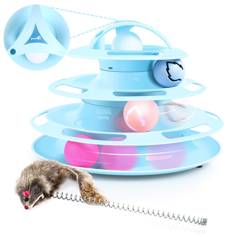 Kat Speelgoed Toren van Tracks Kat Roller Speelgoed, 4 Tier Kat Toren van Spoor Speelgoed met Catnip en Flash Ballen