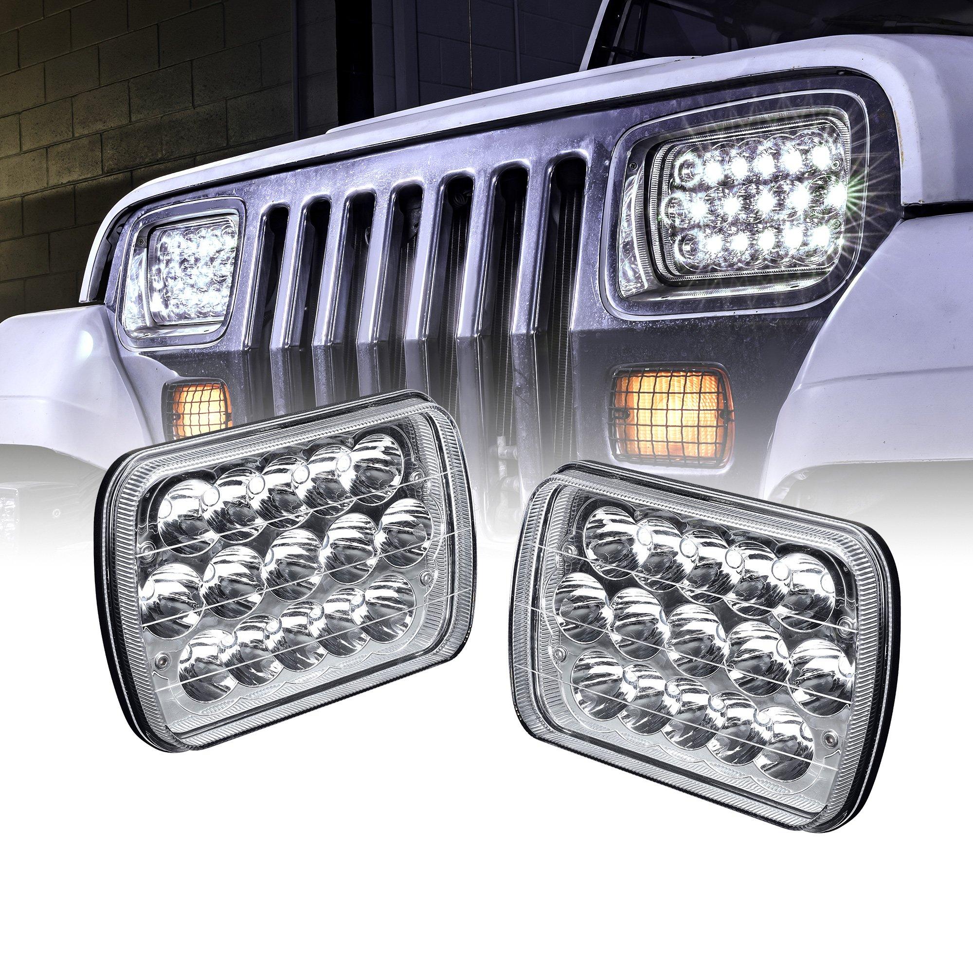 ONLINE LED STORE Universal 5x7 7x6 inch 45W LED Headlight Set [Plug & Play] [Energy Efficient] [Rugged] - Sealed Beam Square/Rectangular Headlight Pair (High/Low Beam: 100%/60% LED Usage)
