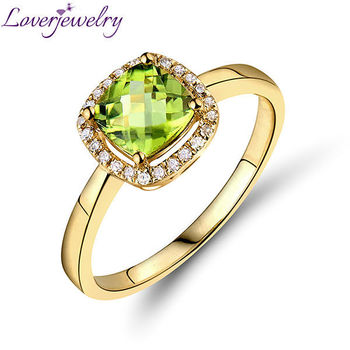 Peridot Earrings And Ring Jewelry Sets In 14kt Yellow Gold Naturnd Diamond For