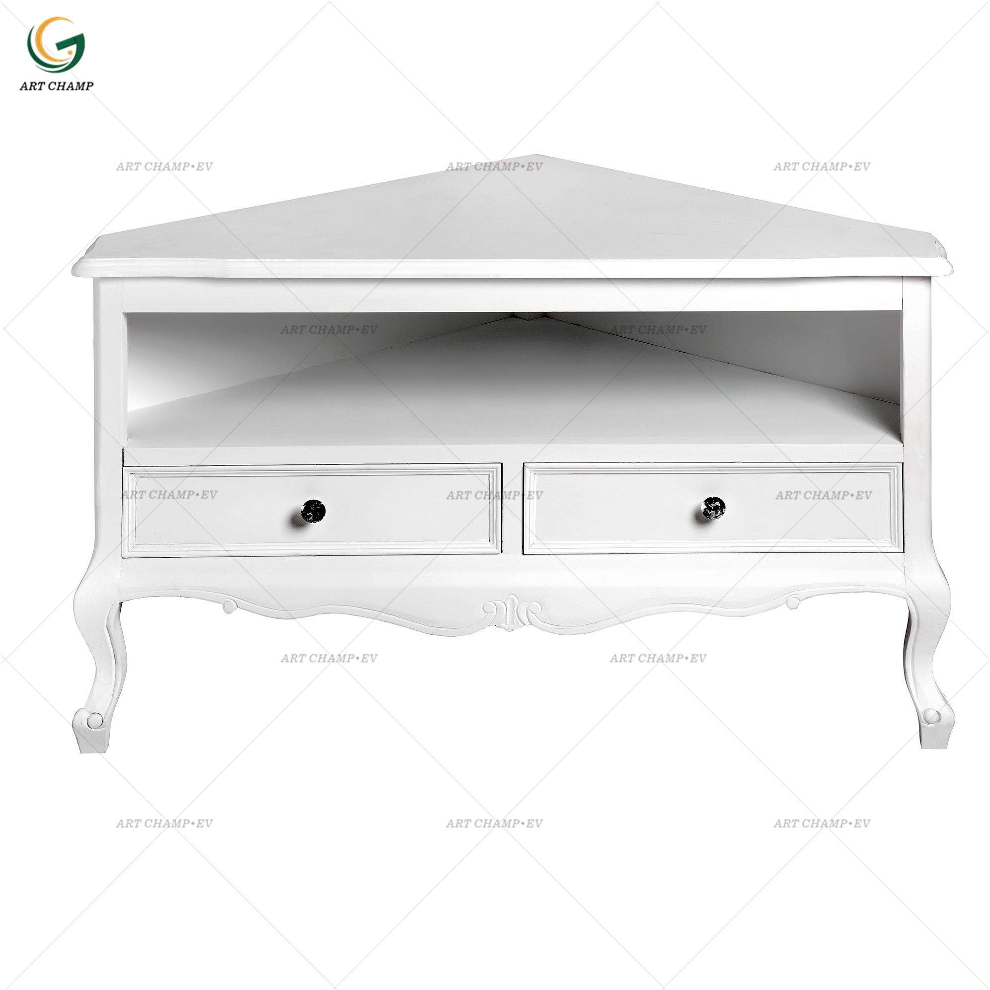 Tv Meubel Kast Steigerhout.Triangle Tv Unit White Color Wooden Storage Corner Cabinet With