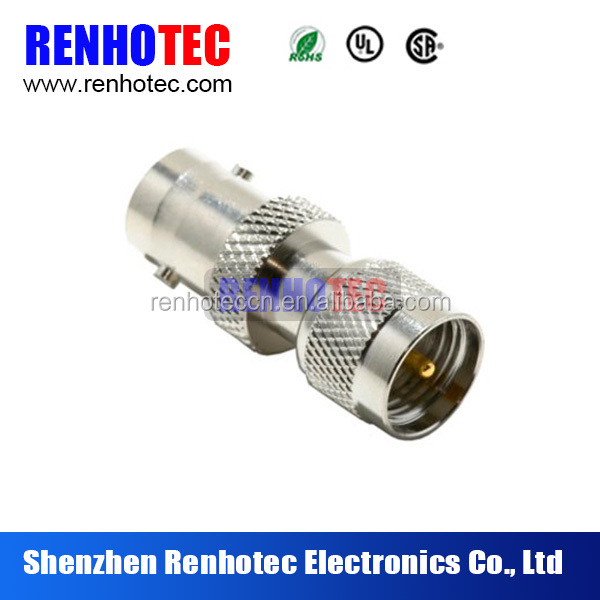 Straight PL259 Mini UHF Male Connector to BNC Female Adapter