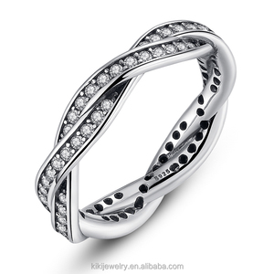 Wholesale Jewelry Fashion Rings S925 Pure Sterling Silver Ring X Shape Cross Curve Line Ring For Gifts