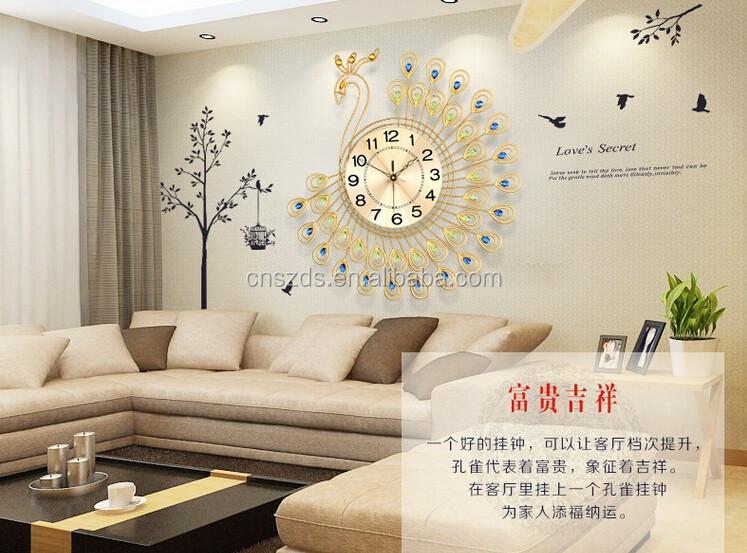 Peacock Wall Clock With Diamond Quiet Quartz Circle Bracket Clock Living  Room Wall Clocks Home Decor Part 56