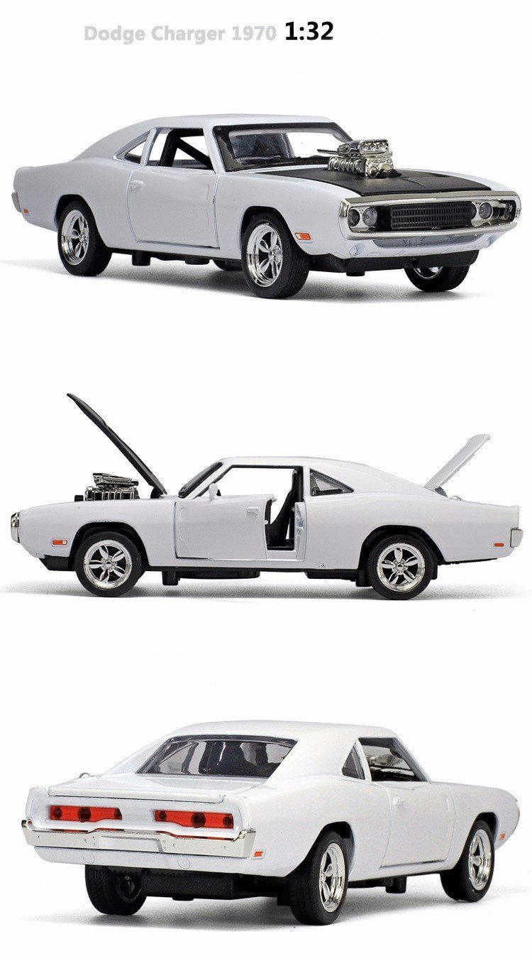 1:32 Alloy 1970 Dodge Chargers R/T Fast and Furious 7 Kids Toy Challenger Pull Back Sports Diecast Car Collection In Stock (Color: White)