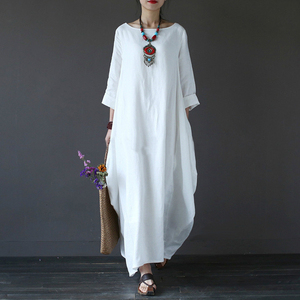 2018 Summer Plus Size Dress for Women 4xl 5xl Loose Cotton Linen Dress White Beach Boho Shirt Dress Long Sleeve Long Maxi Robe
