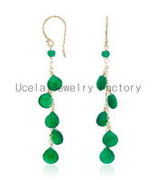 2014 Summer Jewelry Green Agate Dangle turquoise trance chandelier earring