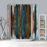 Durable fabric polyester shower curtain with digital panel print designs