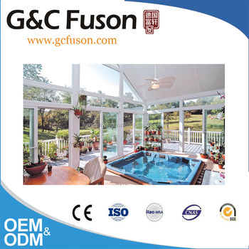 Prefabricated house aluminum curved glass sunroom prices for Prefab glass house prices