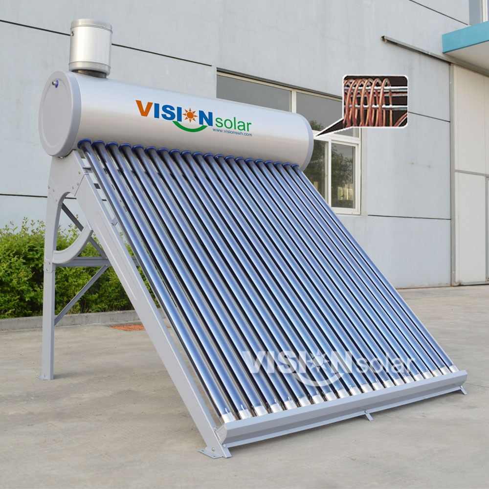 Super Convenience Solar Drinking Water Heater With Copper Coil Inner ...
