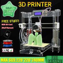 2016 New 220*220*240 Acrylic Frame Reprap Prusa I3 DIY 3D Printer 3 D impressora KIT Machine 2rolls filament LCD 8G SD Card Free