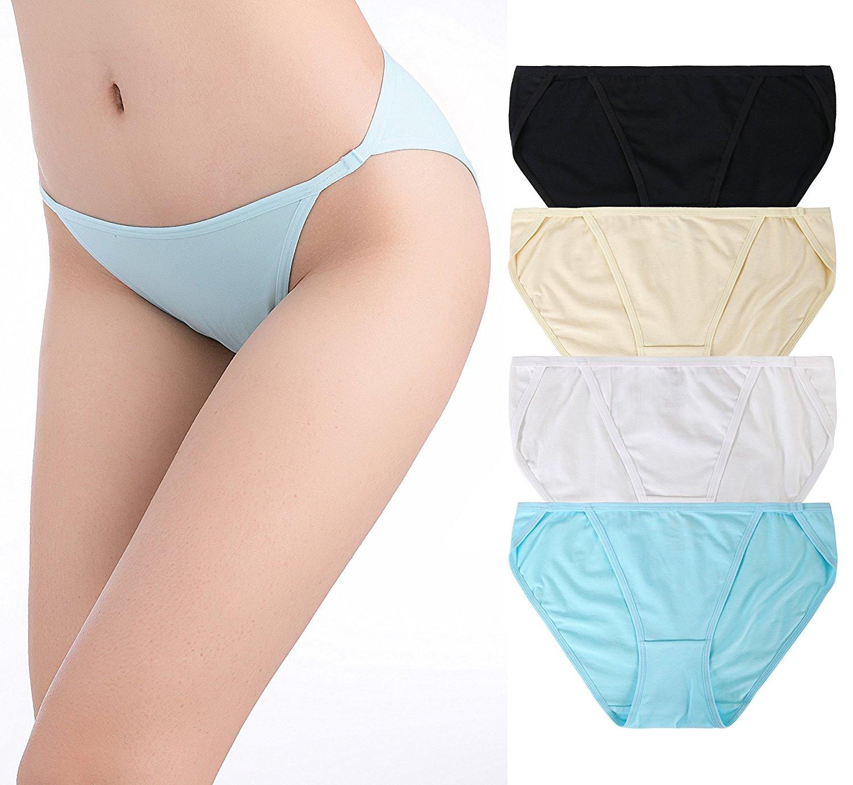 332290018c0e Get Quotations · SHEKINI Women's 4 Pack Cotton Panties Breathable Stretch  Low-Rise Bikini Underwear