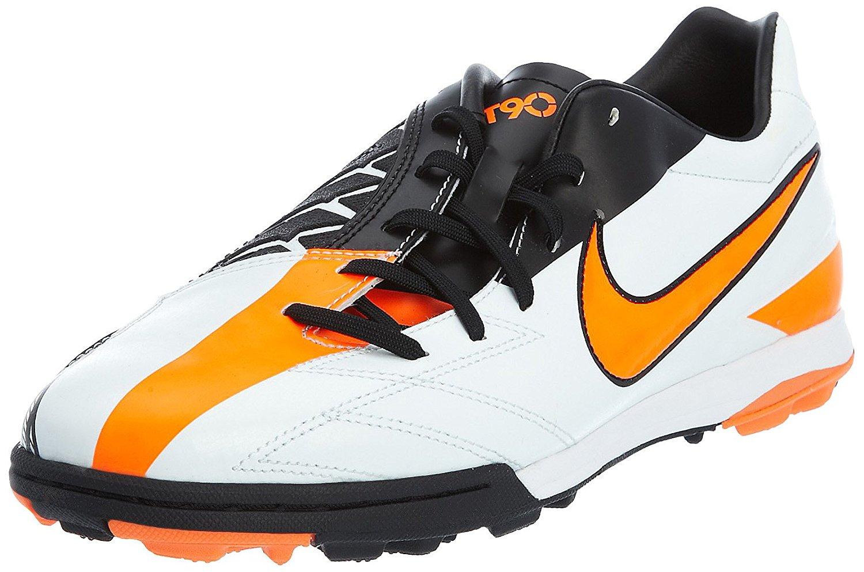 Get Quotations · New Nike T90 Shoot lV TF Sz Men 10 Indoor Soccer Shoe  White/Orange/
