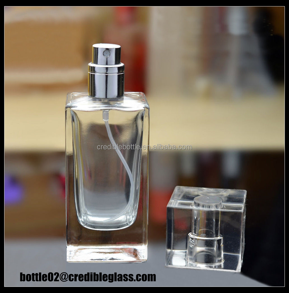 Attractive 50ml empty travel perfume glass bottle for both men and women with pump cap