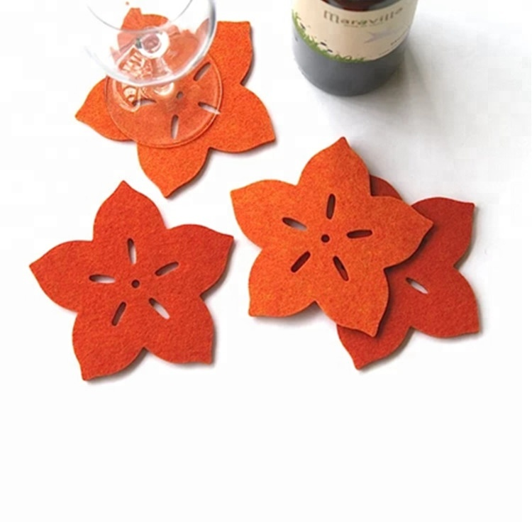 Rustic Set of 4 Wooden Star Christmas Coasters with Brass Inlay