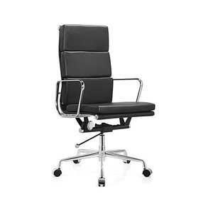 luxury aluminum alloy soft pad black leather office swivel director chair