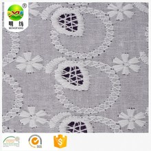 High quality white belgium lace design cotton embroidery fabric