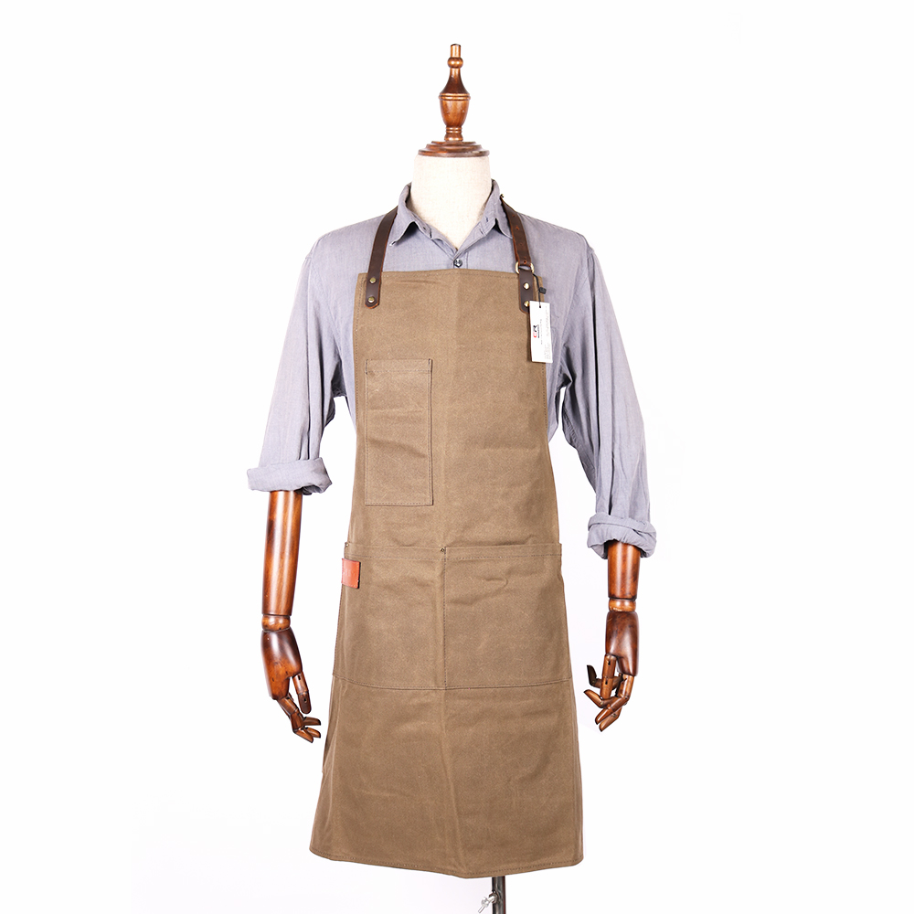 Easy-maintainable water resistant waxed canvas long work bib apron for bar