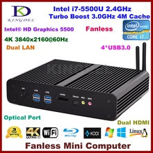 Latest 5 Gen Intel CPU Core i7 5500U Mini PC Wins 10 intel HD 5500 Graphics 2*LAN port 2*HD MI port Gaming PC Barebone Computer