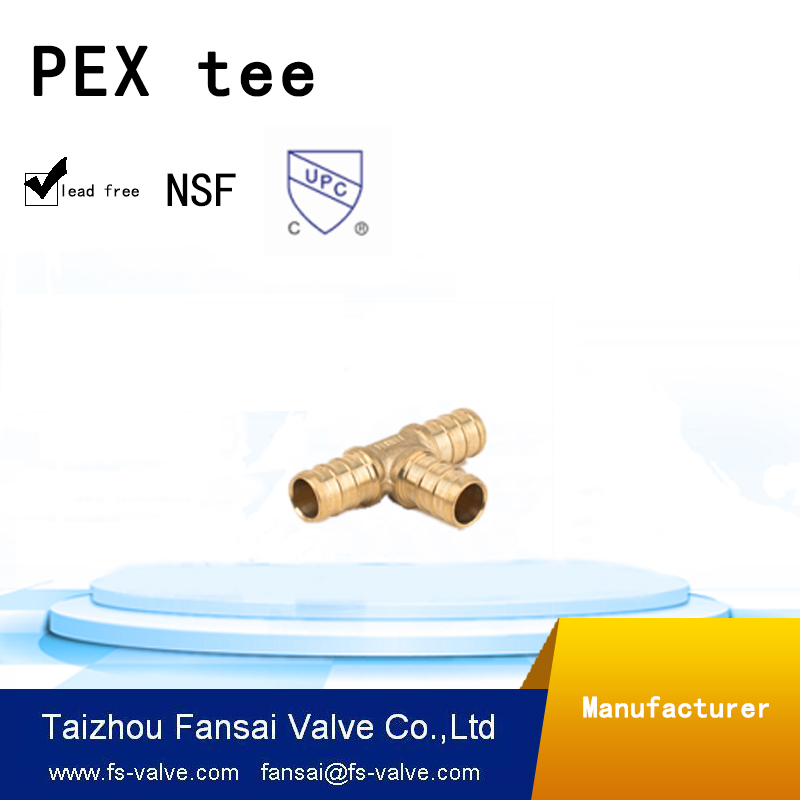 "Chinese manufacturer lead free copper cUPC forged brass reducing fittings 1/2""*3/8""*3/8""PEX tee"