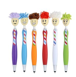 2019 kawaii Mr. customized logo fabric mop top stylus pen, creative kids fancy pen