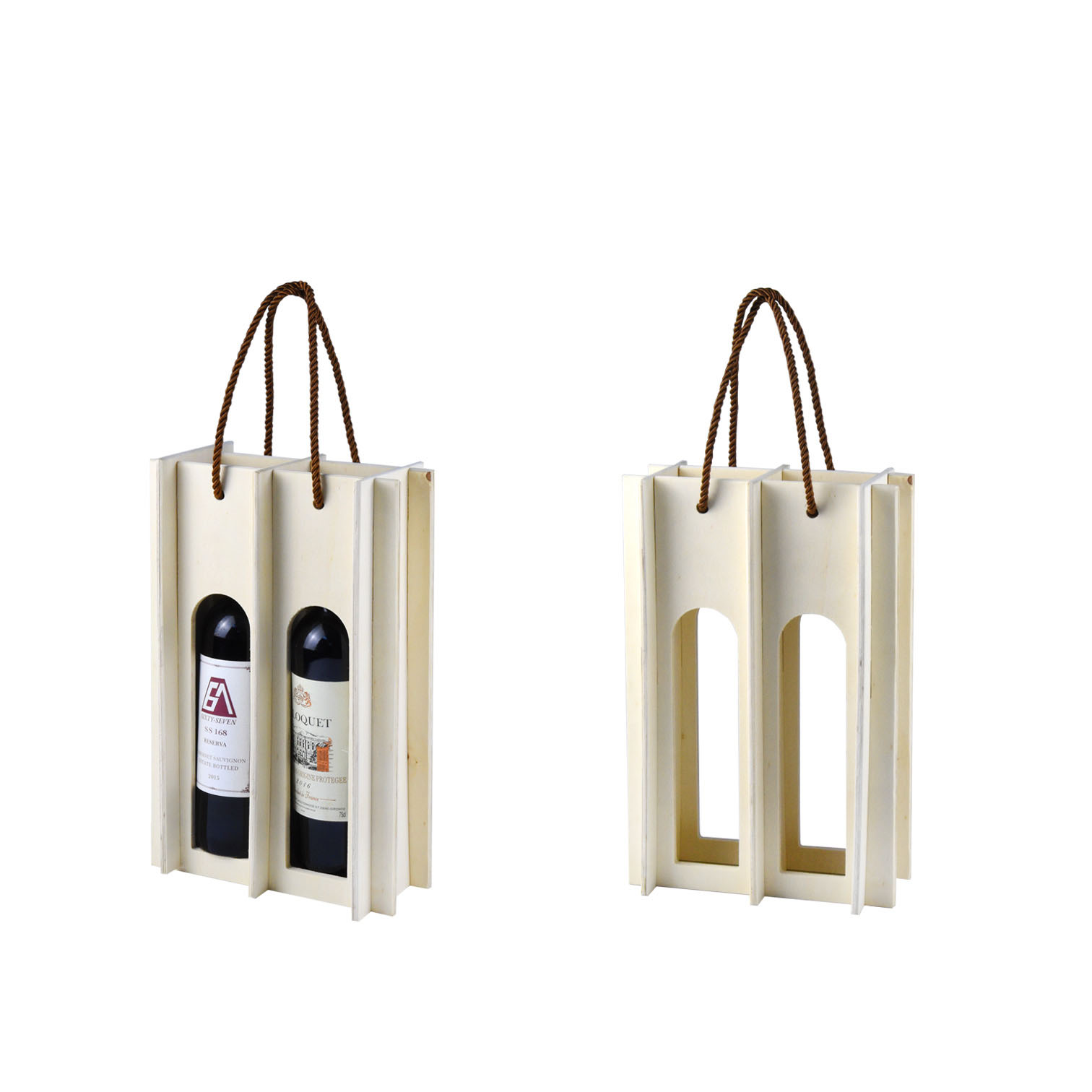 White simple pattern 2 bottles wine packaging case