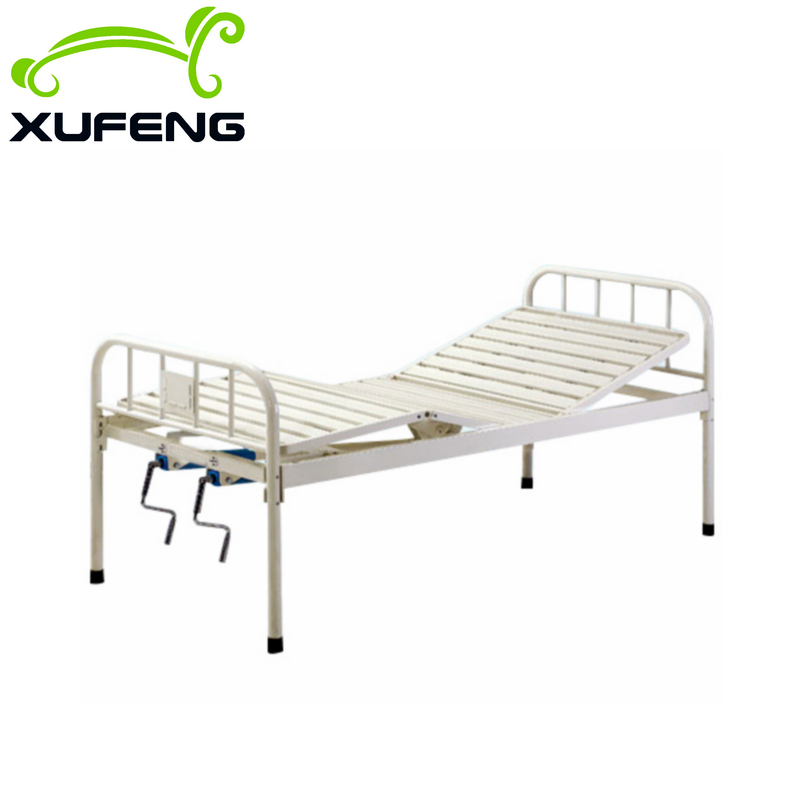 Metal medical equipment double 2 cranks manual cheap hospital bed