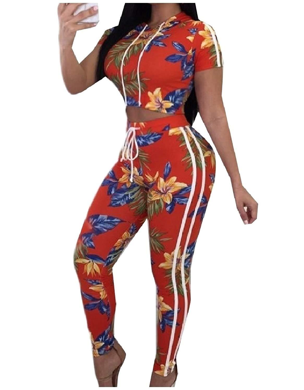 Zimaes-Women Patterned Cropped Short-Sleeve Hooded Tracksuit Set