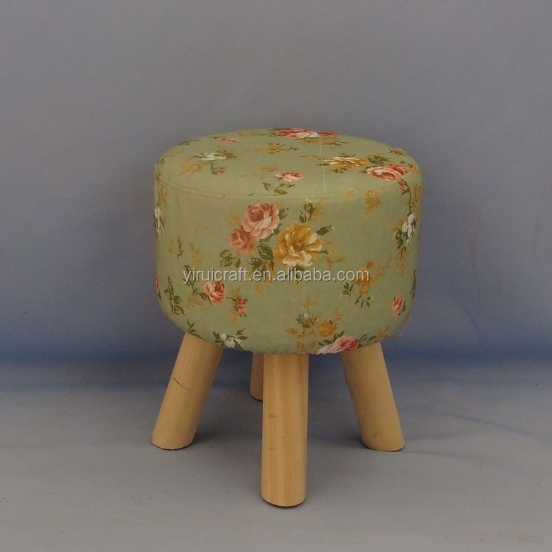 2018 Cheap wholesale high quality good design eco-friendly pine floral prints pouf fabric stool