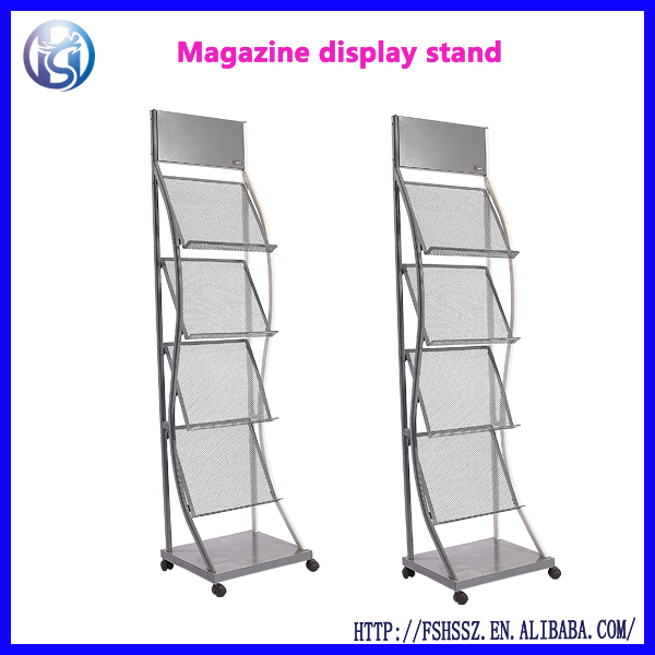 Library and institutional furniture wire brochure stand for hotel hall HS-Z5