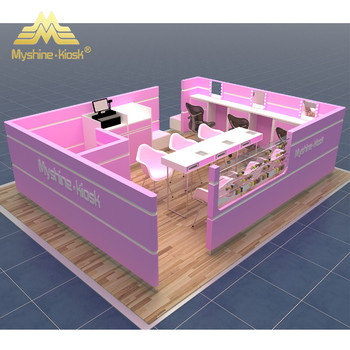 Pink mall manicure bar kiosk nail table station