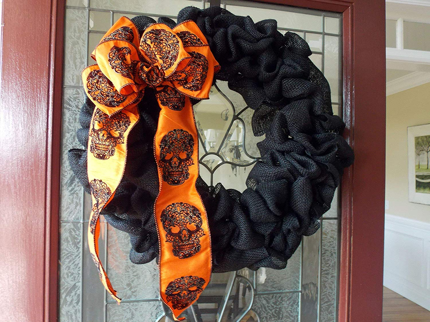 """SALE & READY TO SHIP! Simple Black Burlap Halloween Wreath with Sugar Skull Skeleton Bow for Fall Front Door Decor, Handmade - 24"""""""
