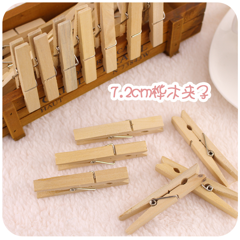 72mm Unfinished Wooden Clothes Pegs With A Spring Natural Wood