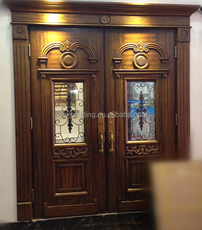 Solid Wood Oil Painted Main Double Door Design Wooden Door For Villa House Luxury