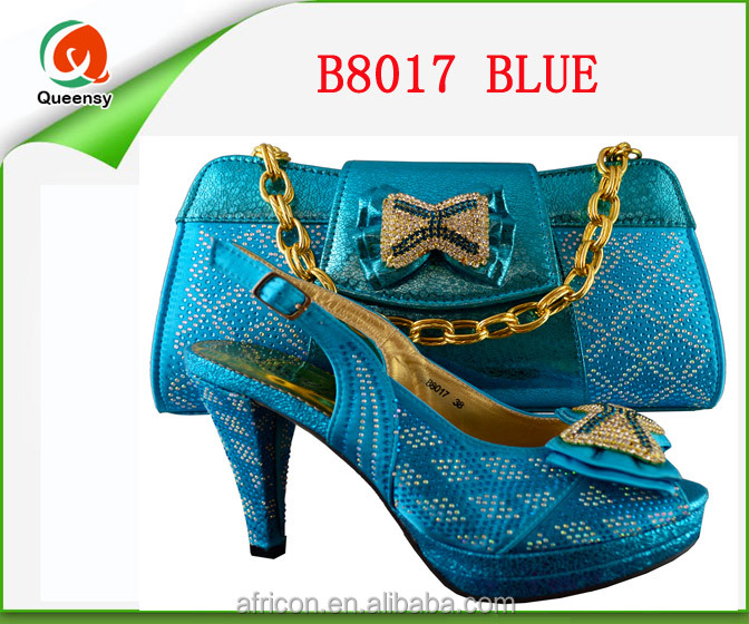 Italian PU bag shoes bags African blue design set B8017 and leather heel shoes and women Wonderful high EwI1B6