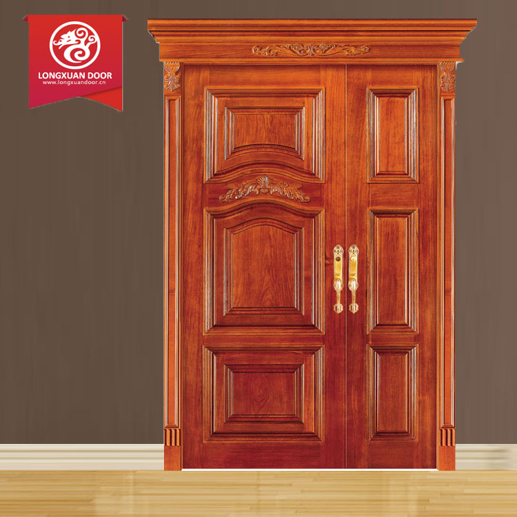 Solid exterior flat teak wood main double front entry door for Main door design for flat
