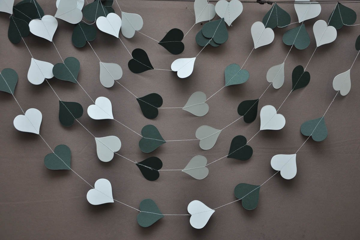 Wedding heart garland, Wedding decor, Bridal shower garland, Wedding decorations, Bridal shower decor, Teal wedding, Paper garland