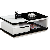 Modern Glass Tops Black Wooden Coffee Table