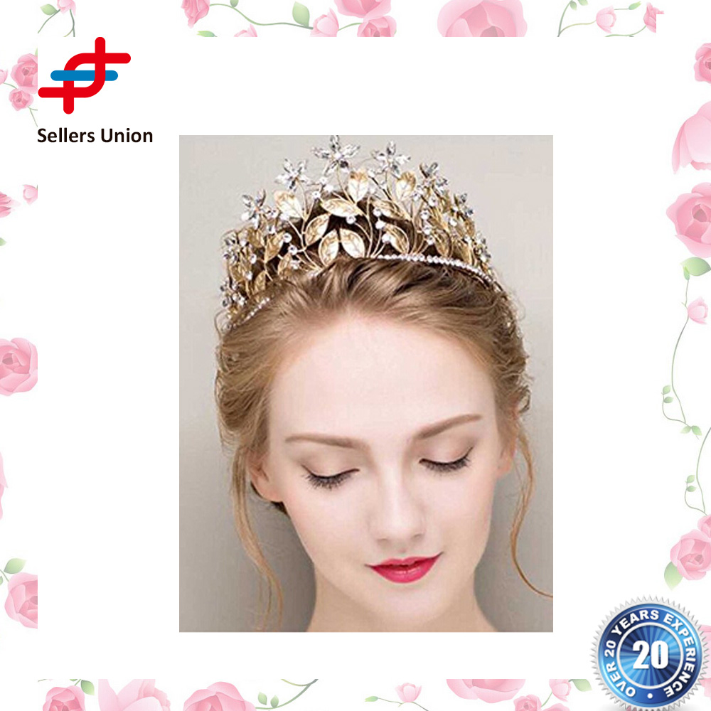 Factory-selling Bridal Wedding Bride Flower Leaf Bridal Wedding Tiara Crown