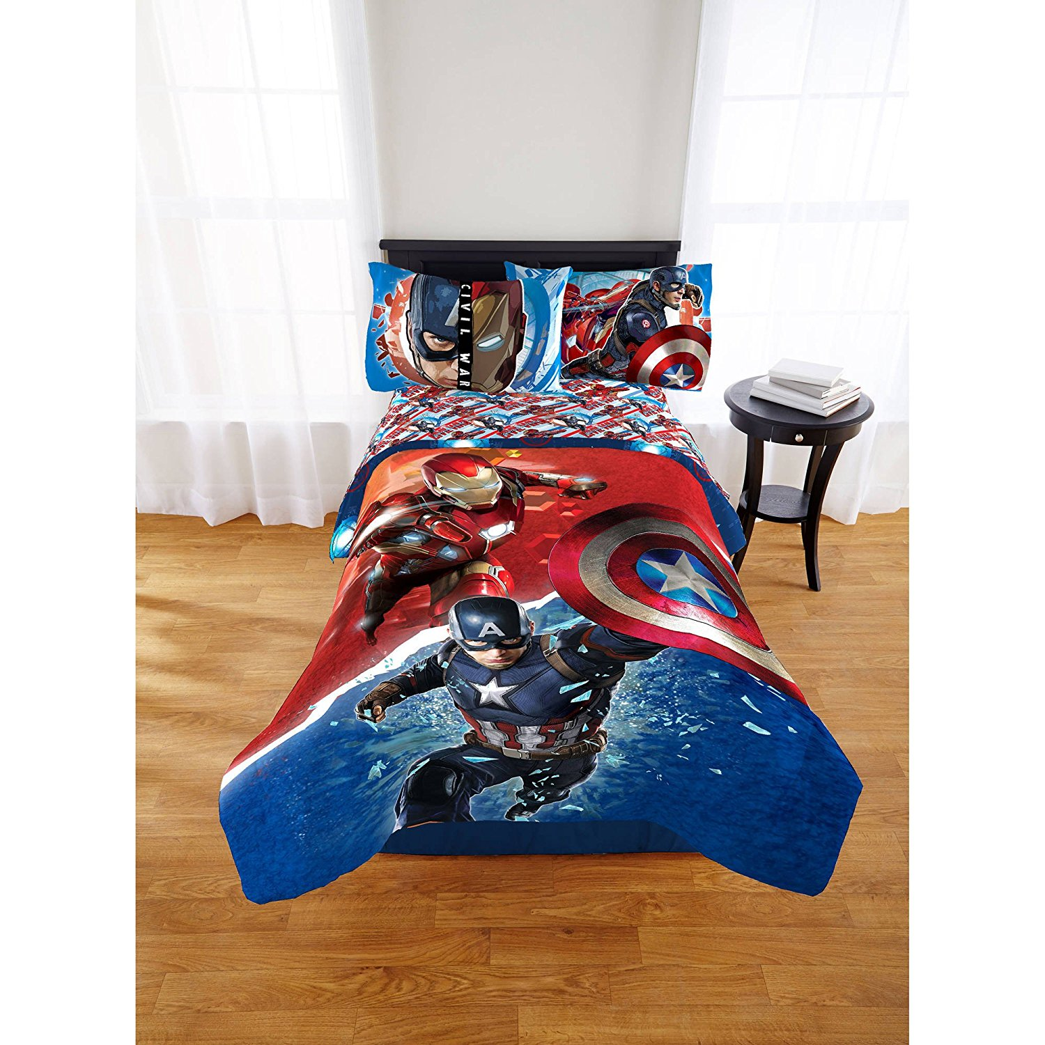 Captain America Civil War Marvel Avengers Boys Full Comforter & Sheets (5 Piece Bed In A Bag) + HOMEMADE WAX MELT