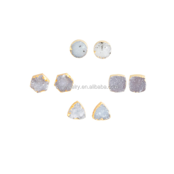 White Druzy Quartz Natural Stone Stud Earrings Women Whole Earring Jewelry Gold Product On Alibaba