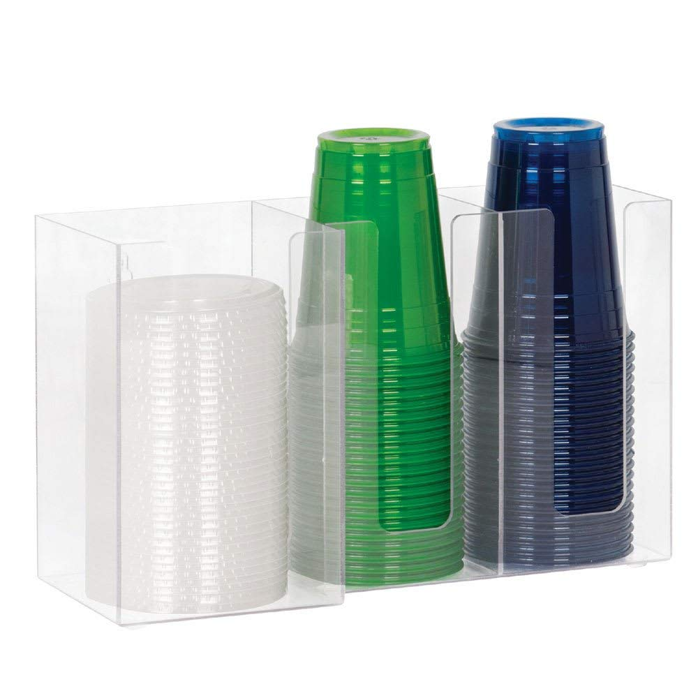 "TableTop King CTHL3 Lid/Cup Organizer, 3 Section: (2) 4""& (1) 5 in, Acrylic, Clear"