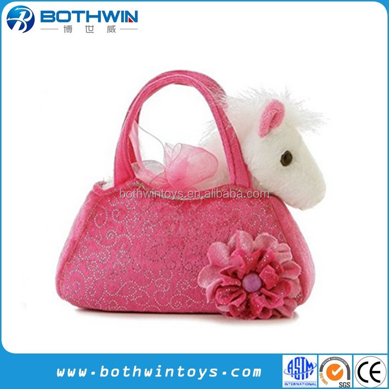 Cuddly Pink Plush Pony Bag Toy for Girls Birthday