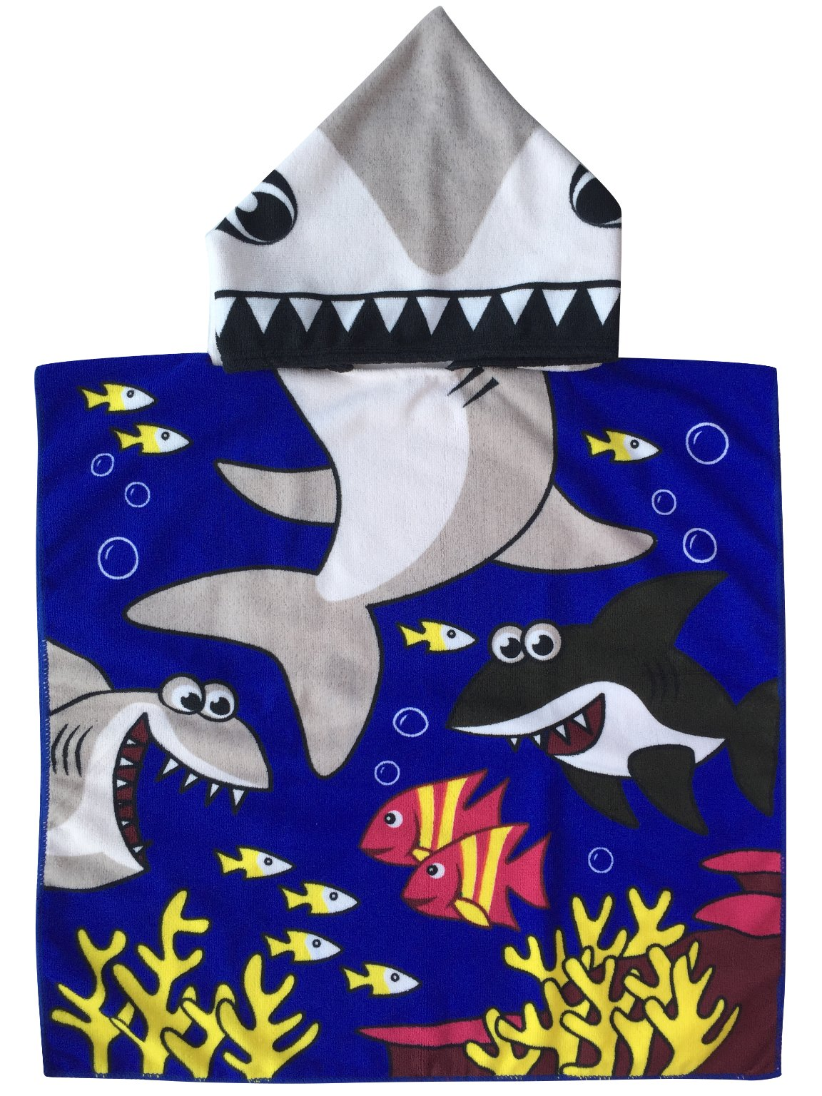 a3a6fbb3a6 Get Quotations · Tiger Shark Hooded Poncho Towel for Kid   Baby Boys  Multi-use Beach Bath Pool