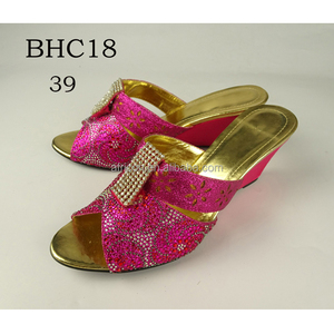 BHC18 Queency Factory Sale Footwear 2017 Lady Fushia High Heel Bridal Fancy Sandal Shoes for Wedding and Party